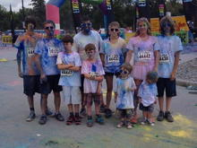 This past summer after our Color me rad run with all the kids.  Our nephew is with us too.
