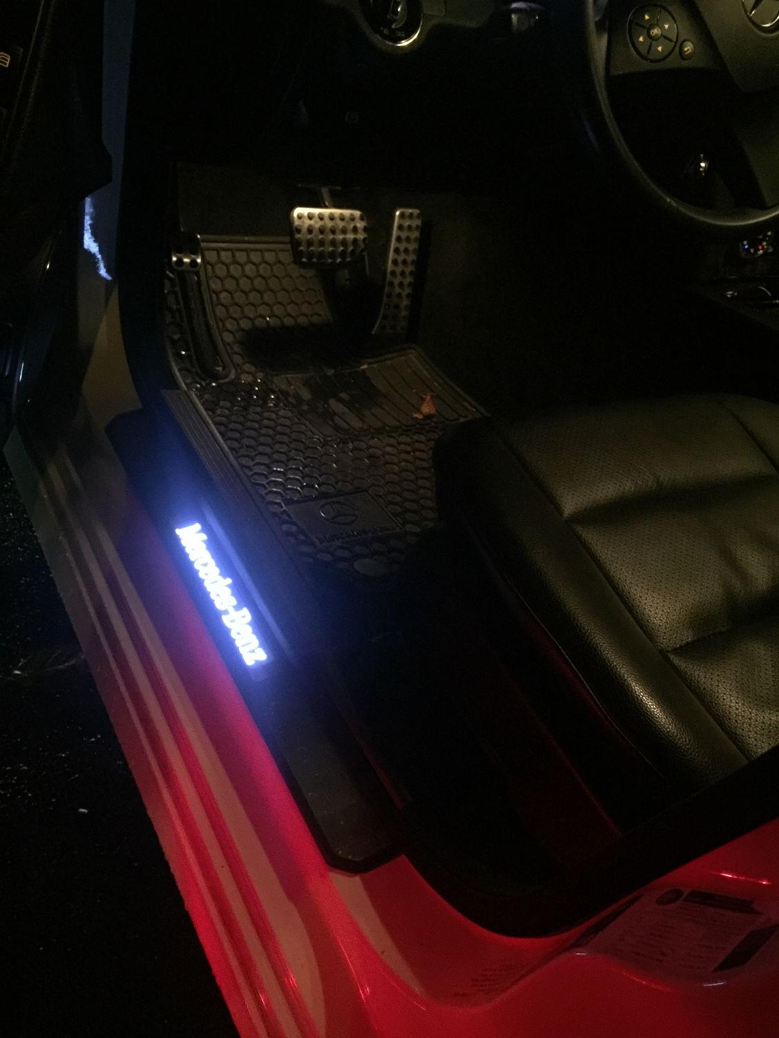 W204 Aftermarket White Door Sill Lights Installed