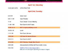 Schedule April 2nd