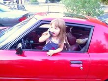 Grand Daughter practicing being a teenage driver.