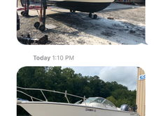 Before and during sandblasting hull bottom paint, fairing, painting and restoring hull and sides.