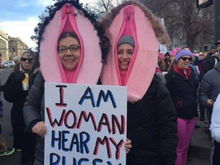 These abhorrent things are p***y hats. Part of that men suck movement.