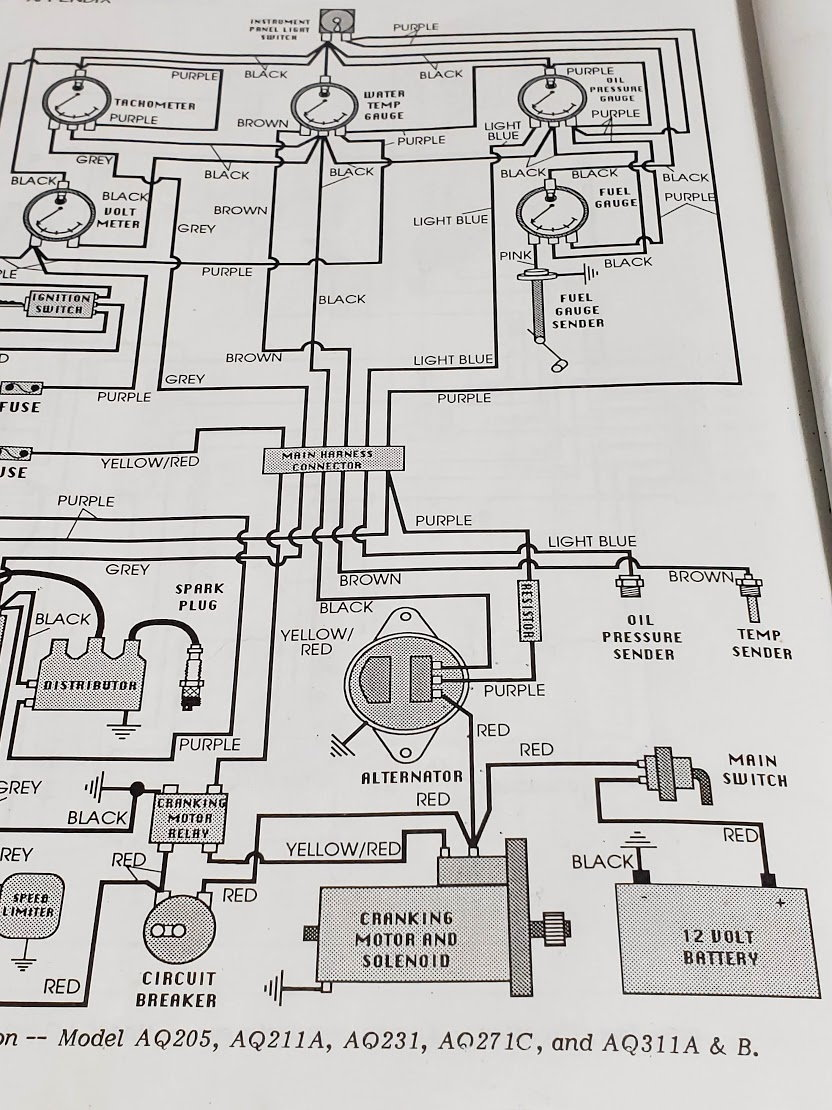 the wiring diagram for the motor and the alternator diagram are pictured