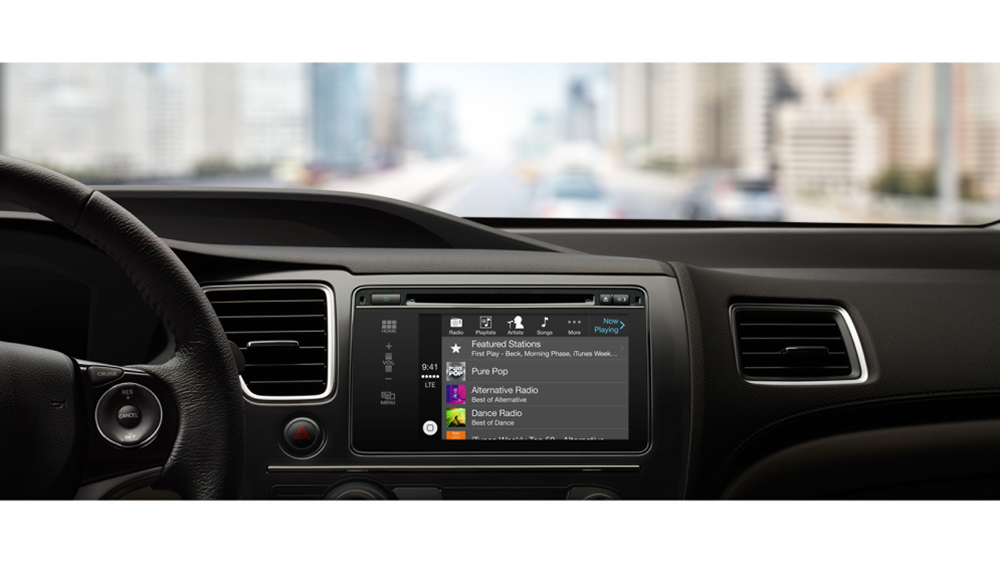 Apple CarPlay music screen.