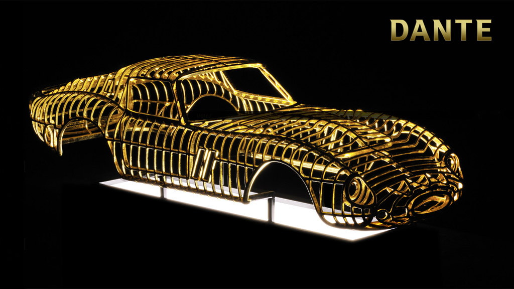 24-karat gold Ferrari 250 GTO sculpture by Dante