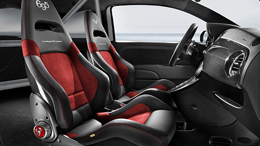 The interior of the Abarth 695 Competizione. Image: Fiat S.p.A