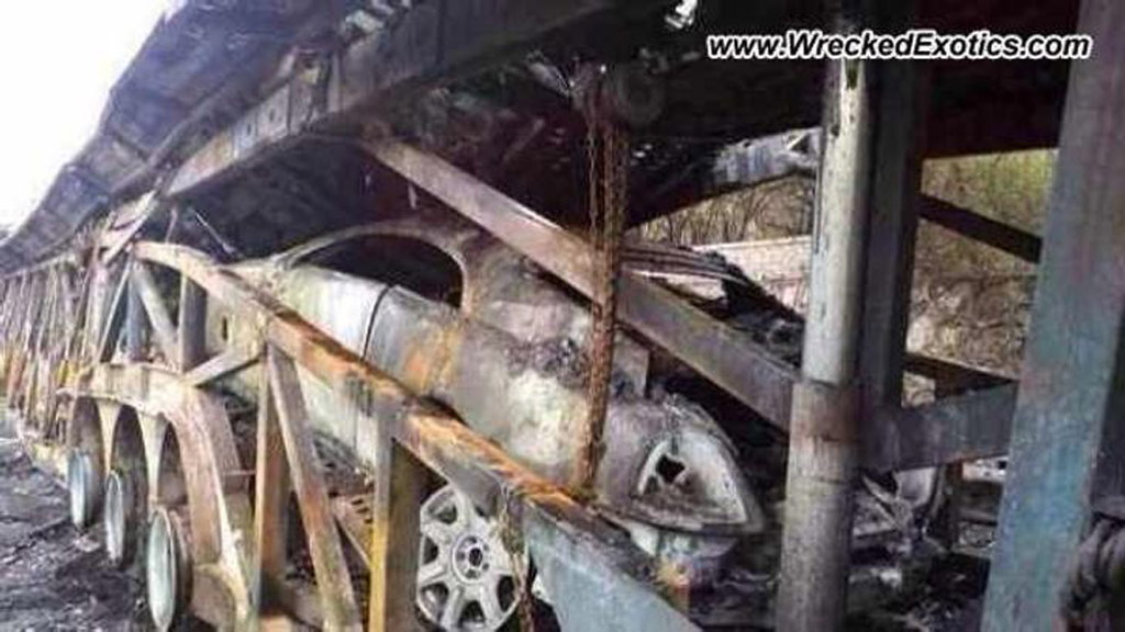 Wreckage of a Rolls-Royce Wraith destroyed in a fire