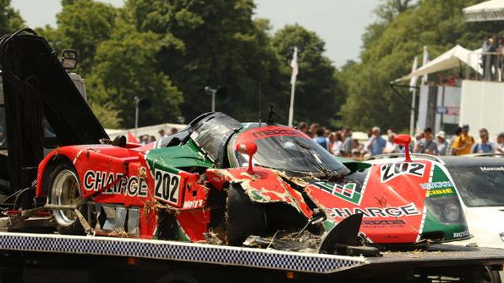 1989 Mazda 767B crashes at the 2015 Goodwood Festival of Speed - Image via Robert Stokes/Jalopnik