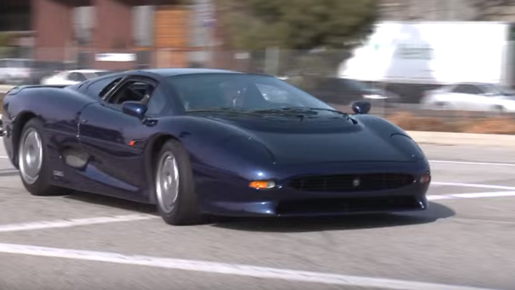 Jay Leno driving the Jaguar XJ220