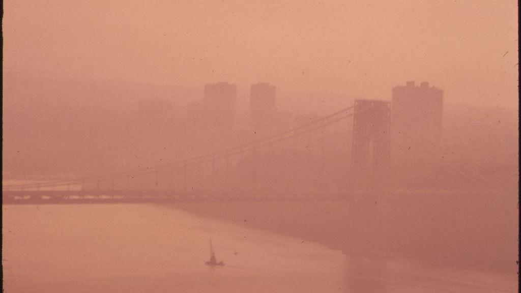 Smog obscures George Washington Bridge, 1973 [From EPA Documerica series]