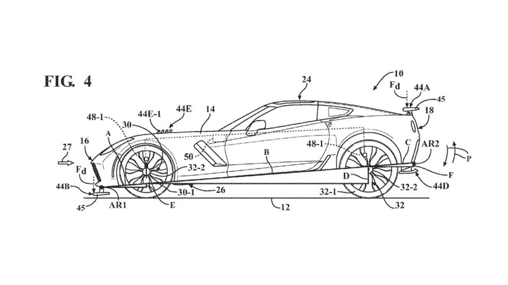 General Motors patent drawing for active aerodynamics system
