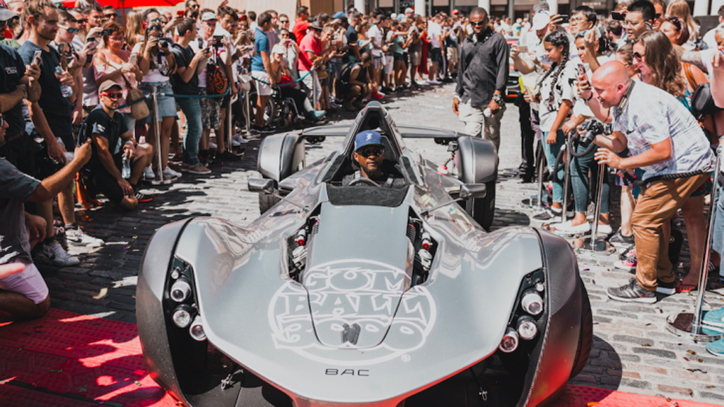 Usher in a BAC Mono at the 2018 Gumball 3000 rally