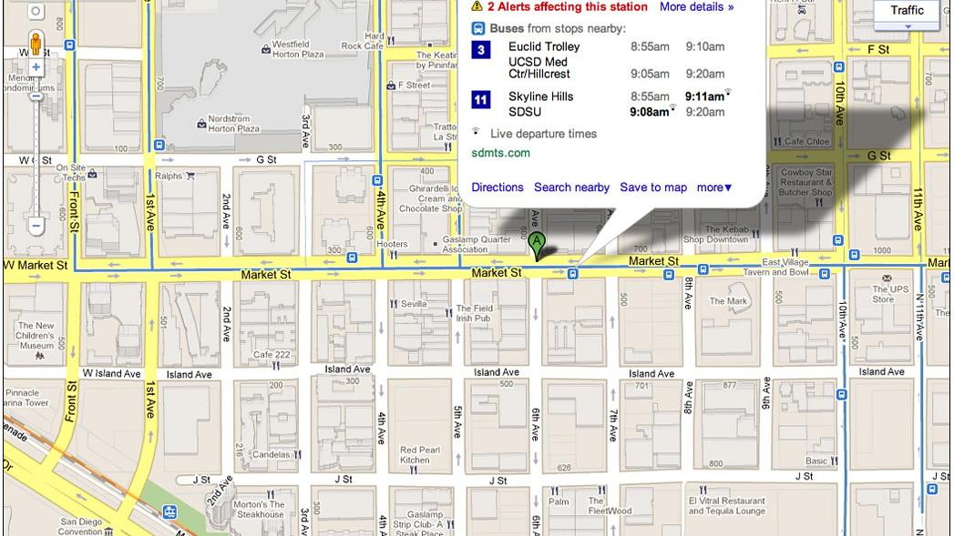 Google Maps' Live Transit Update