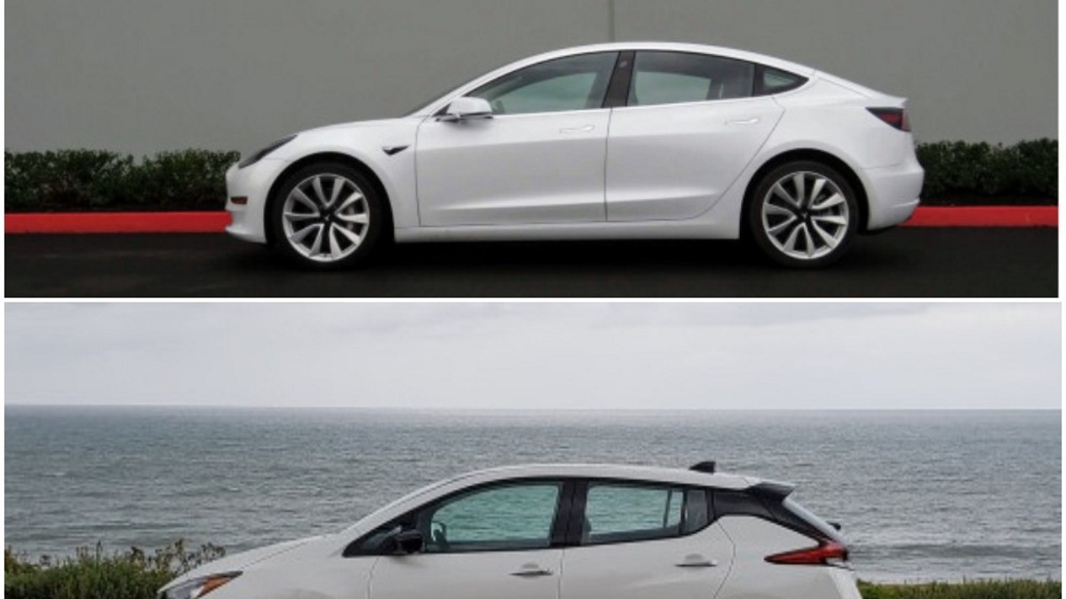2019 Tesla Model 3 and 2019 Nissan Leaf Plus