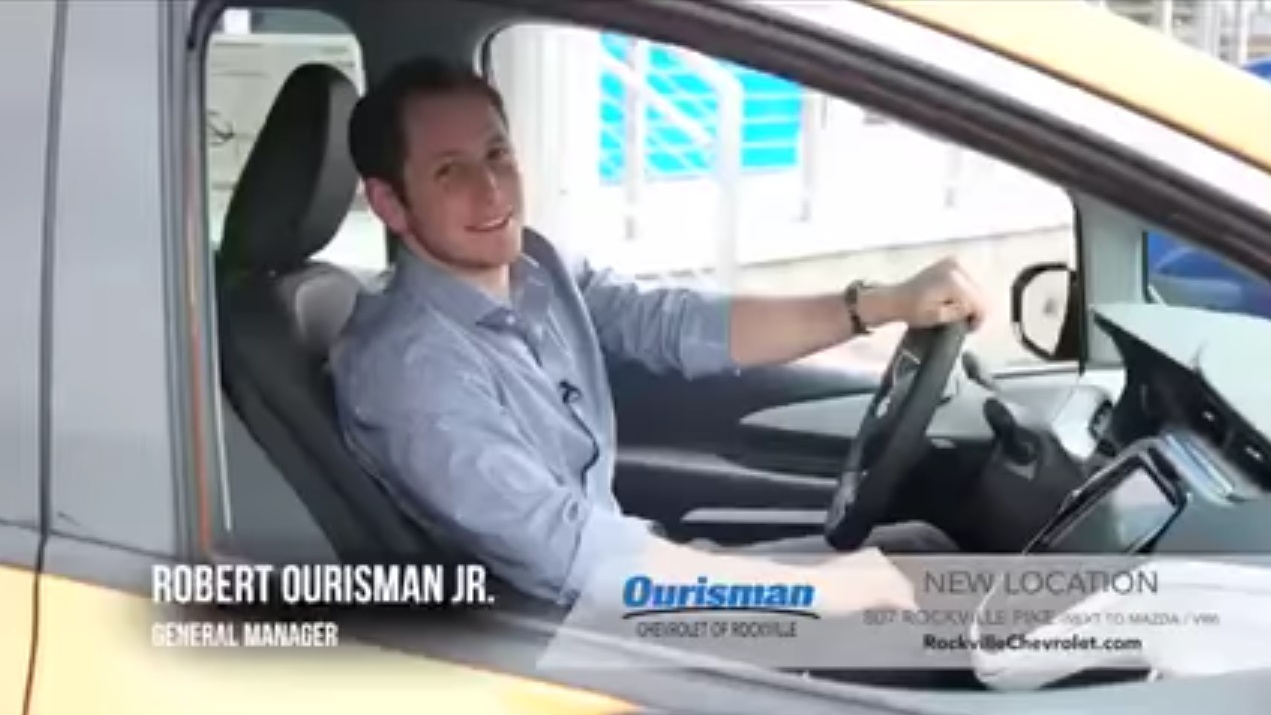 Image from 2017 Chevrolet Bolt EV electric-car ad by Ourisman Chevrolet, Rockville, Maryland