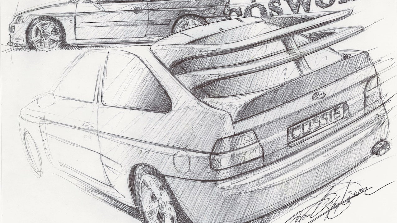Frank Stephenson Ford Escort Cosworth sketch
