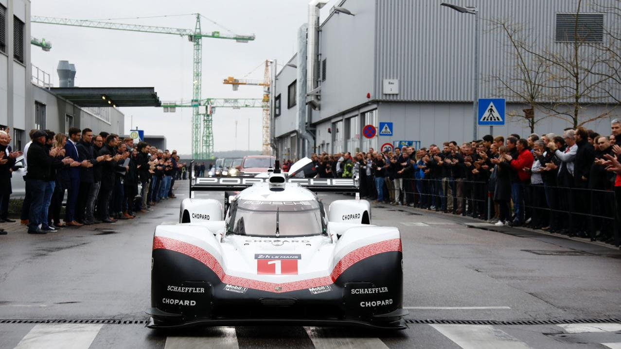 The Porsche 919 Evo is driven on public roads on its way to the Porsche Museum
