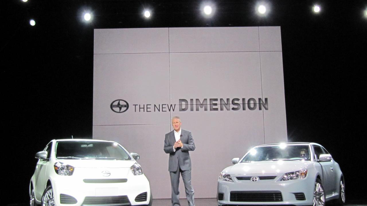 2011 Scion iQ and tC at 2010 New York Auto Show, with Scion's Jack Hollis