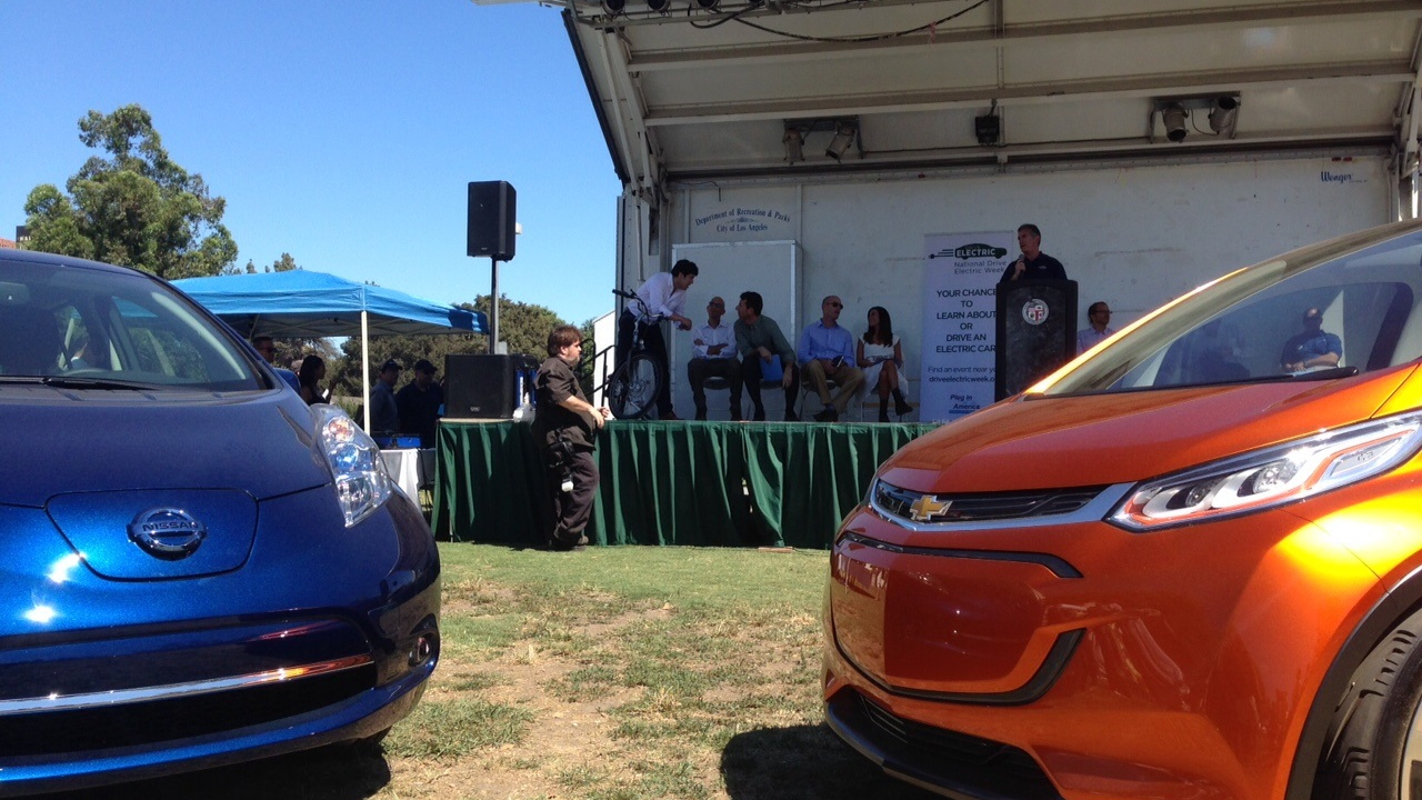 2016 Nissan Leaf, Chevy Bolt EV at Drive Electric Week event, Los Angeles [photo: Zan Dubin Scott]