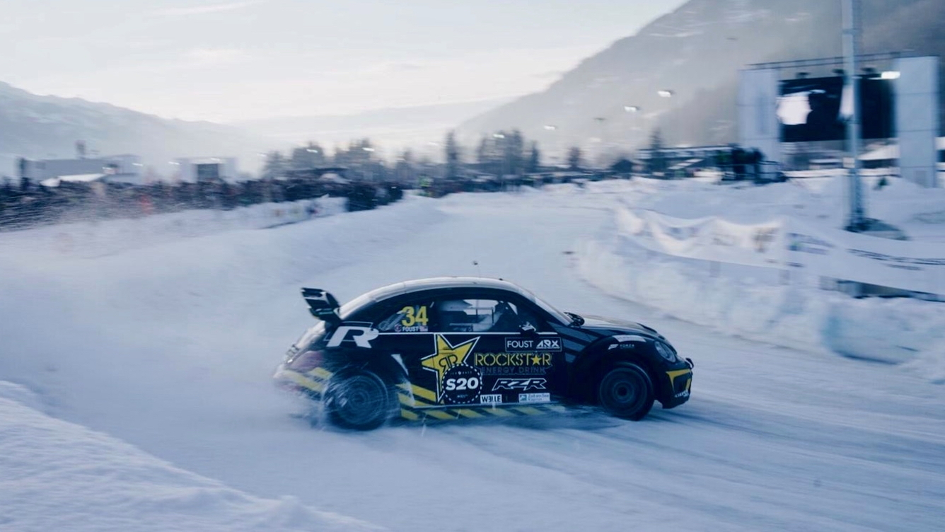 Taner Foust drifts at the second GP Ice Race weekend