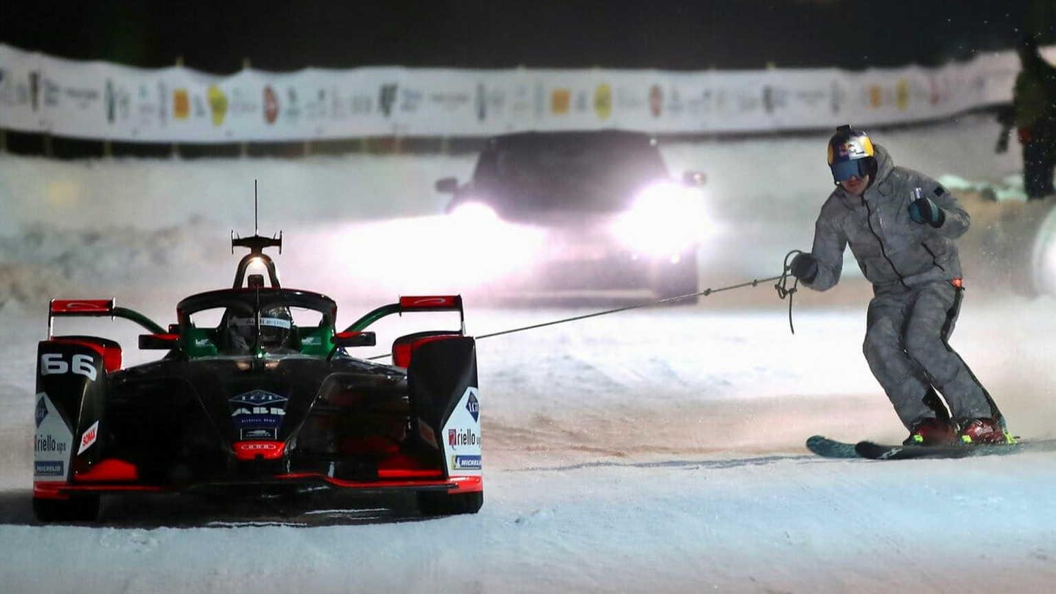 Freestyle skier Benedikt Mayr competes in the Skijoring event