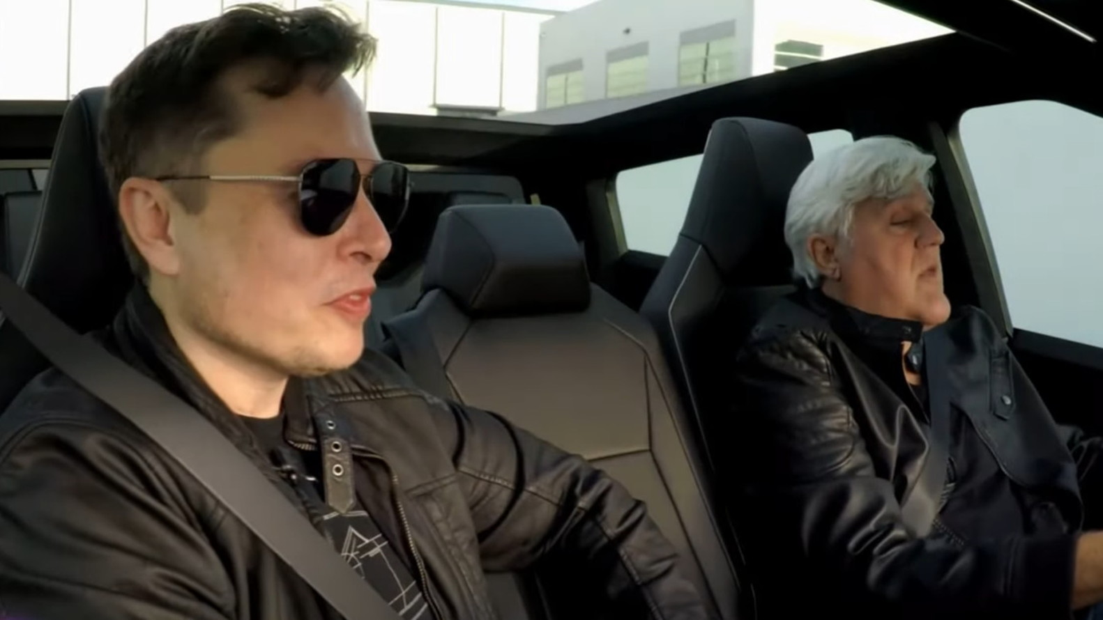 Musk and Leno in Tesla Cybertruck