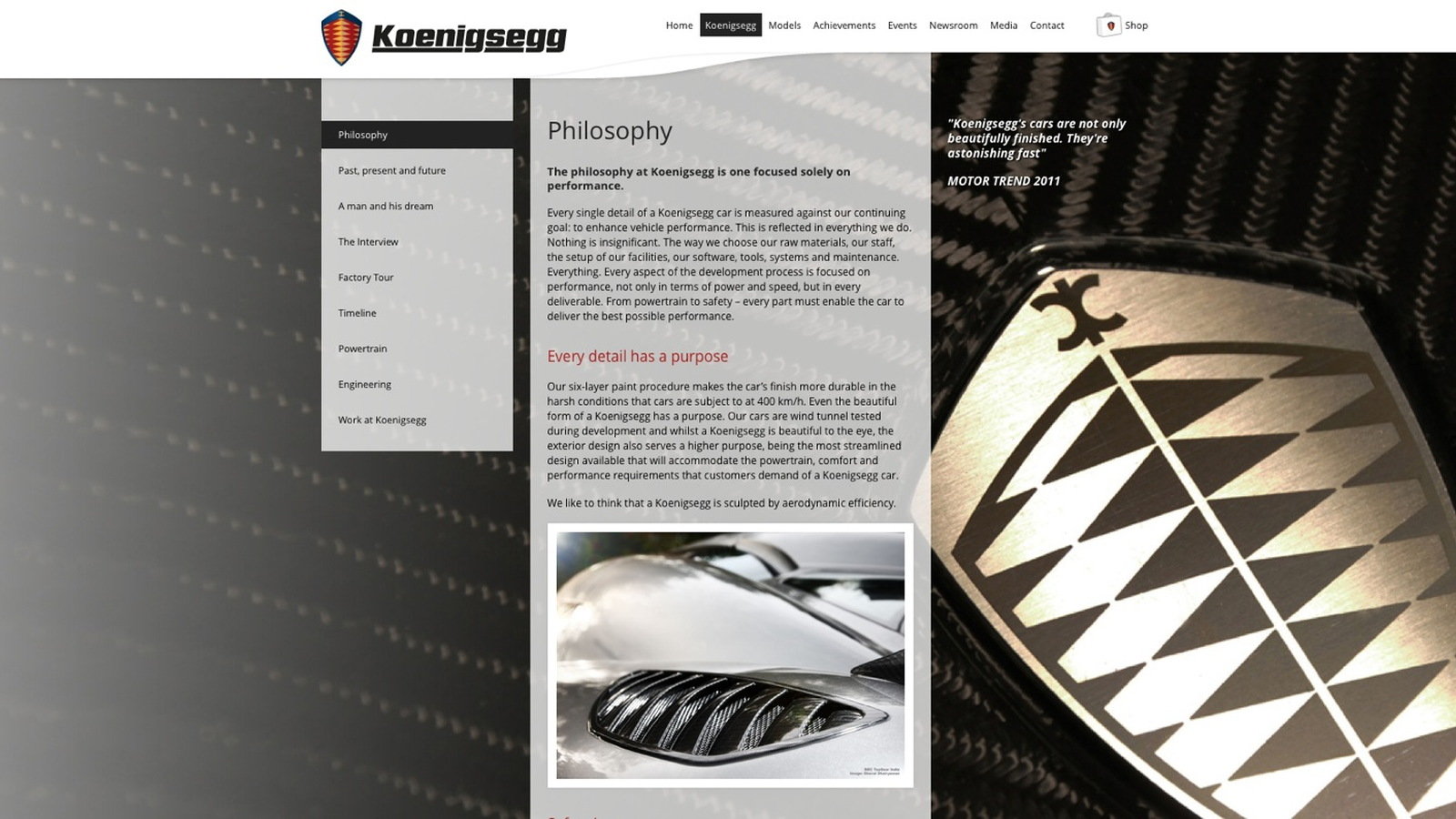 Koenigsegg's latest website update