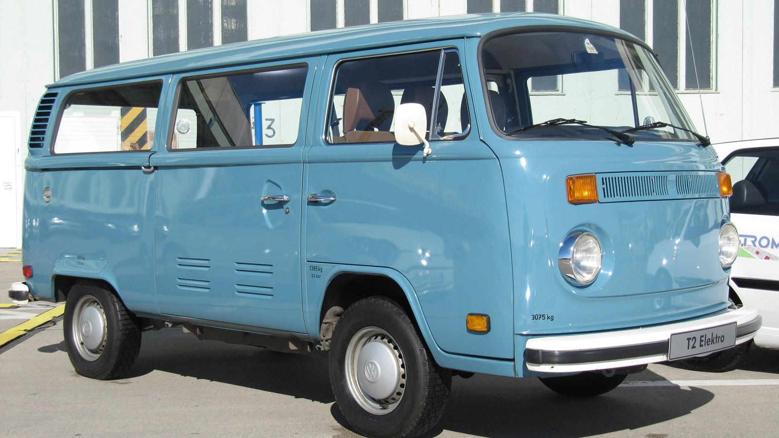 Volkswagen T2 Elektro, historic VW electric car at Tempelhof Airport, Berlin
