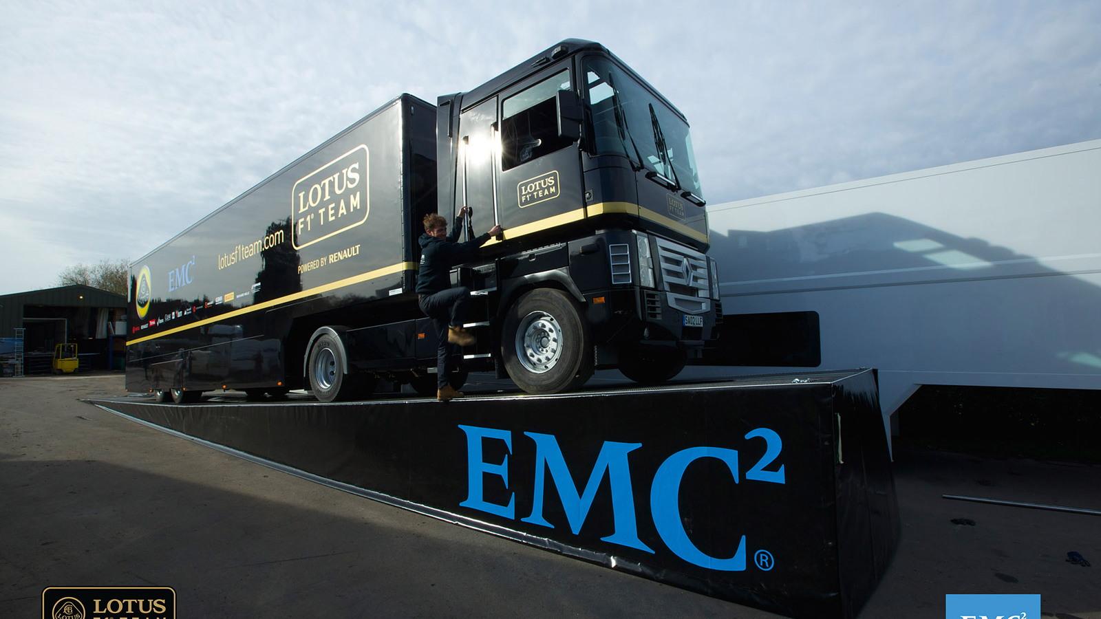 Semi-trailer jumps a moving Formula One car