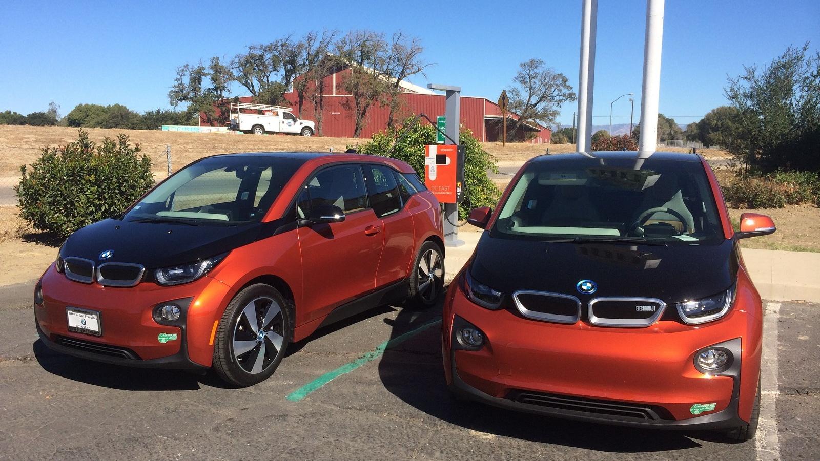 2015 BMW i3 REx fast-charging at Keefer's, King City, California  [photo: Jeff Pantukhoff]