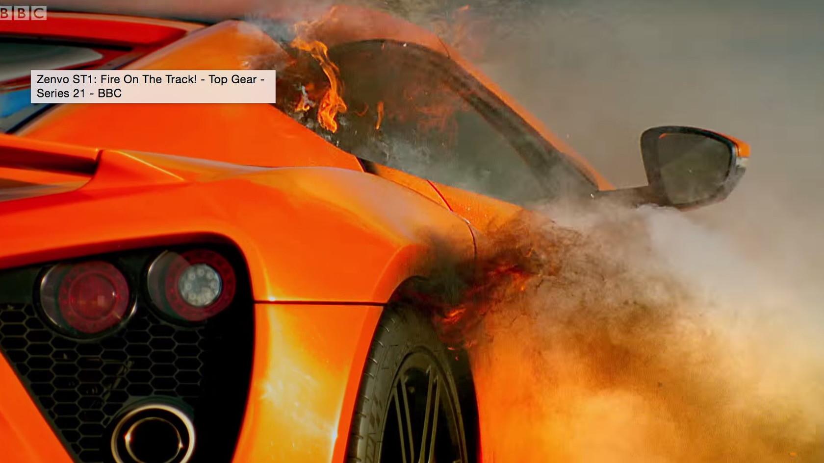 Zenvo ST1 catches fire on Top Gear