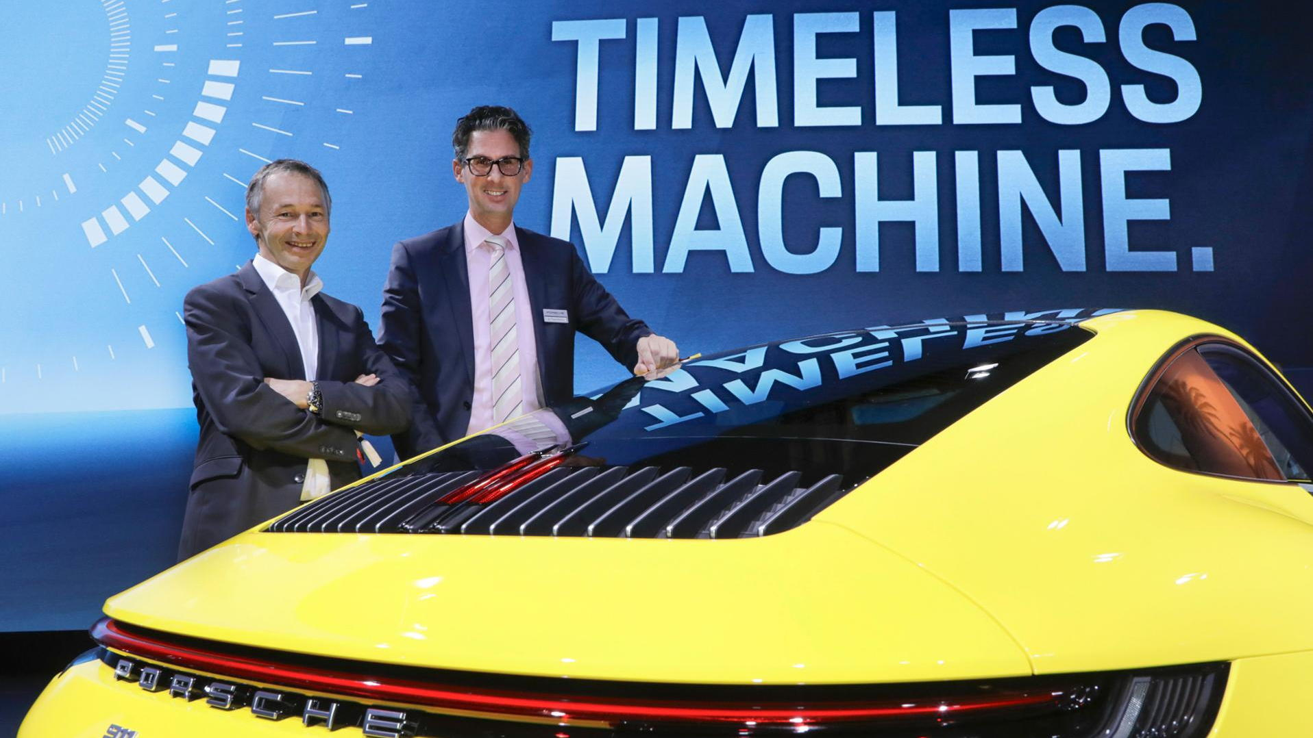 August Achleitner (left) hand over Porsche 911 lead engineer role to Frank-Steffen Walliser (right)