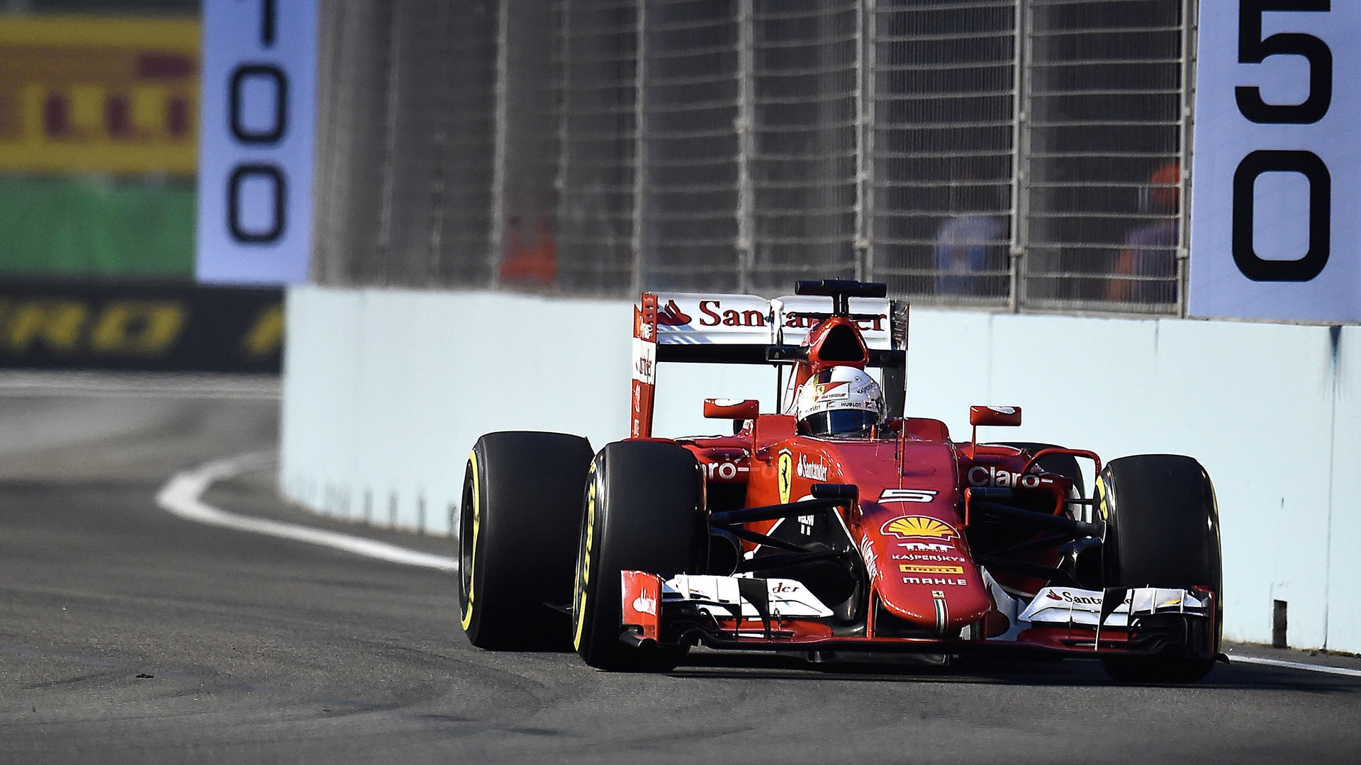 Ferrari's Sebastian Vettel at the 2015 Formula One Singapore Grand Prix