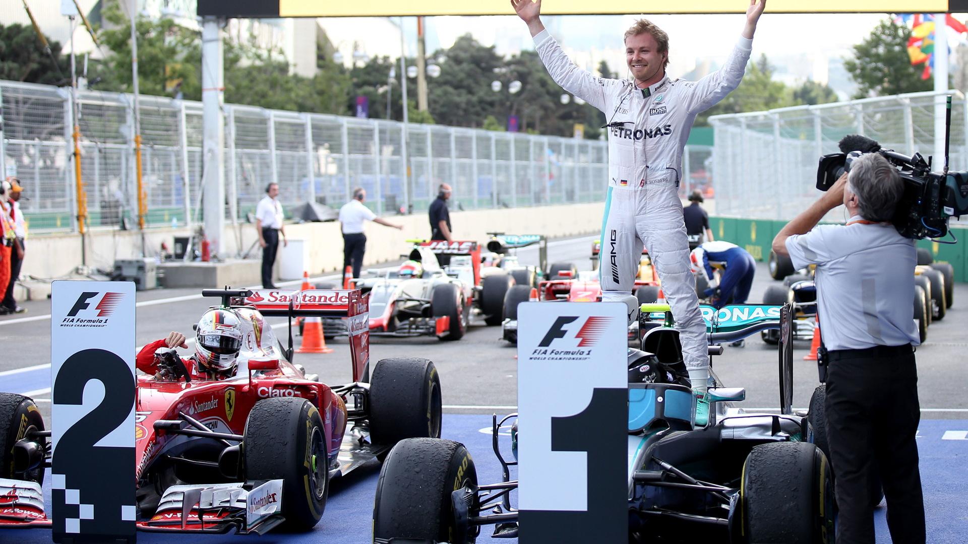 Mercedes AMG's Nico Rosberg after winning the 2016 Formula One European Grand Prix