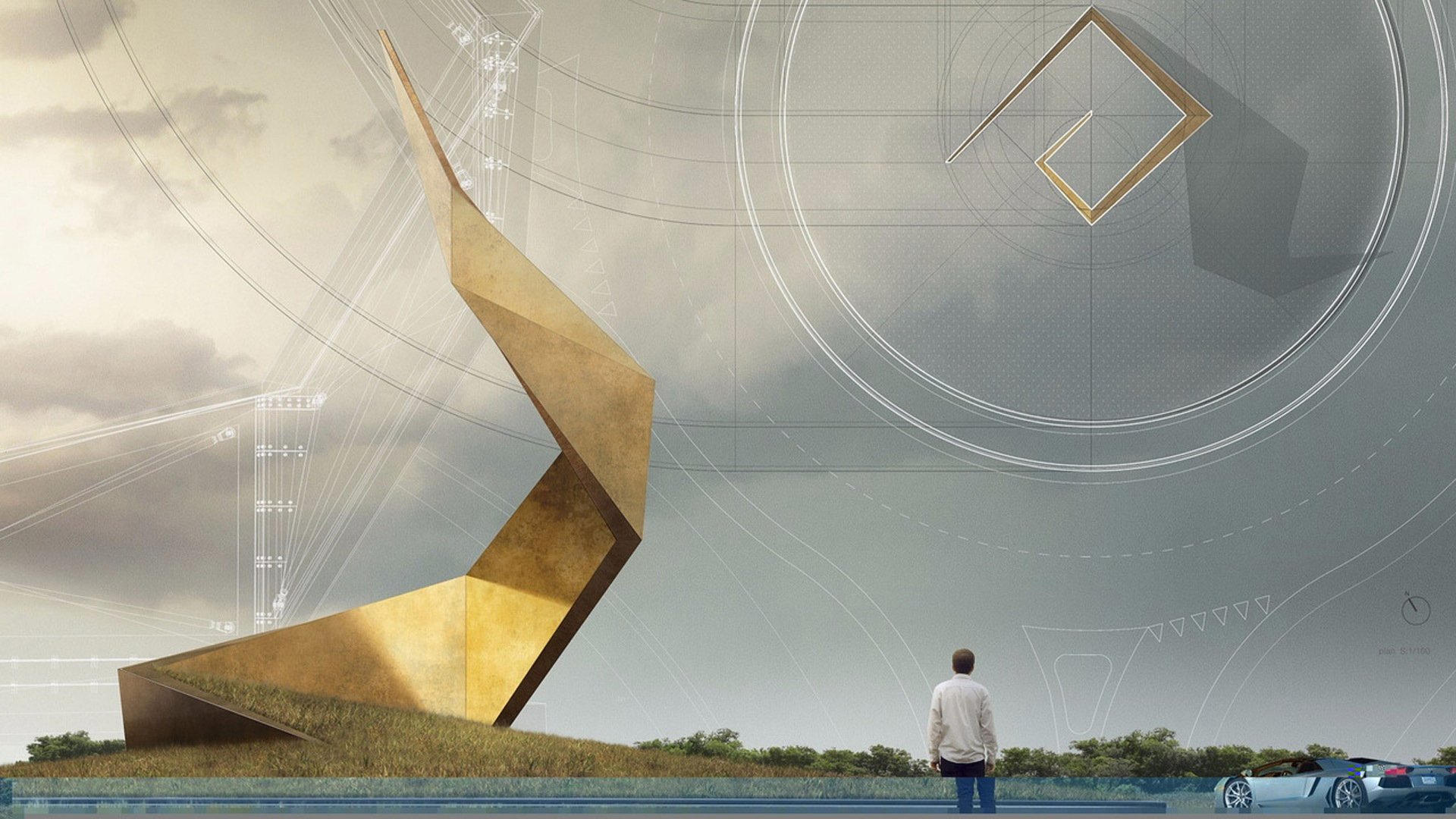 Concept drawing of sculpture to mark Lamborghini's home in Sant'Agata Bolognese, Italy
