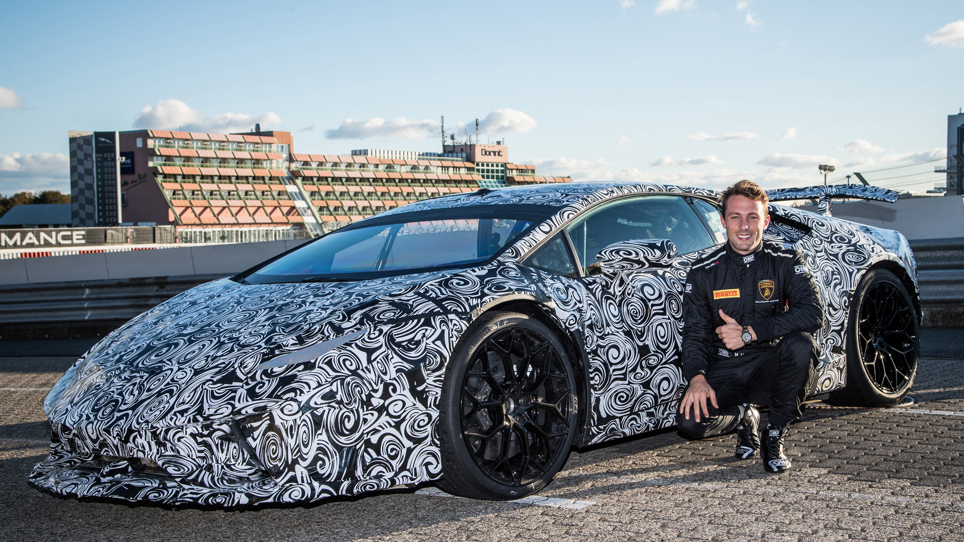 Marco Mapelli with the Lamborghini Huracán Performante at the Nürburgring