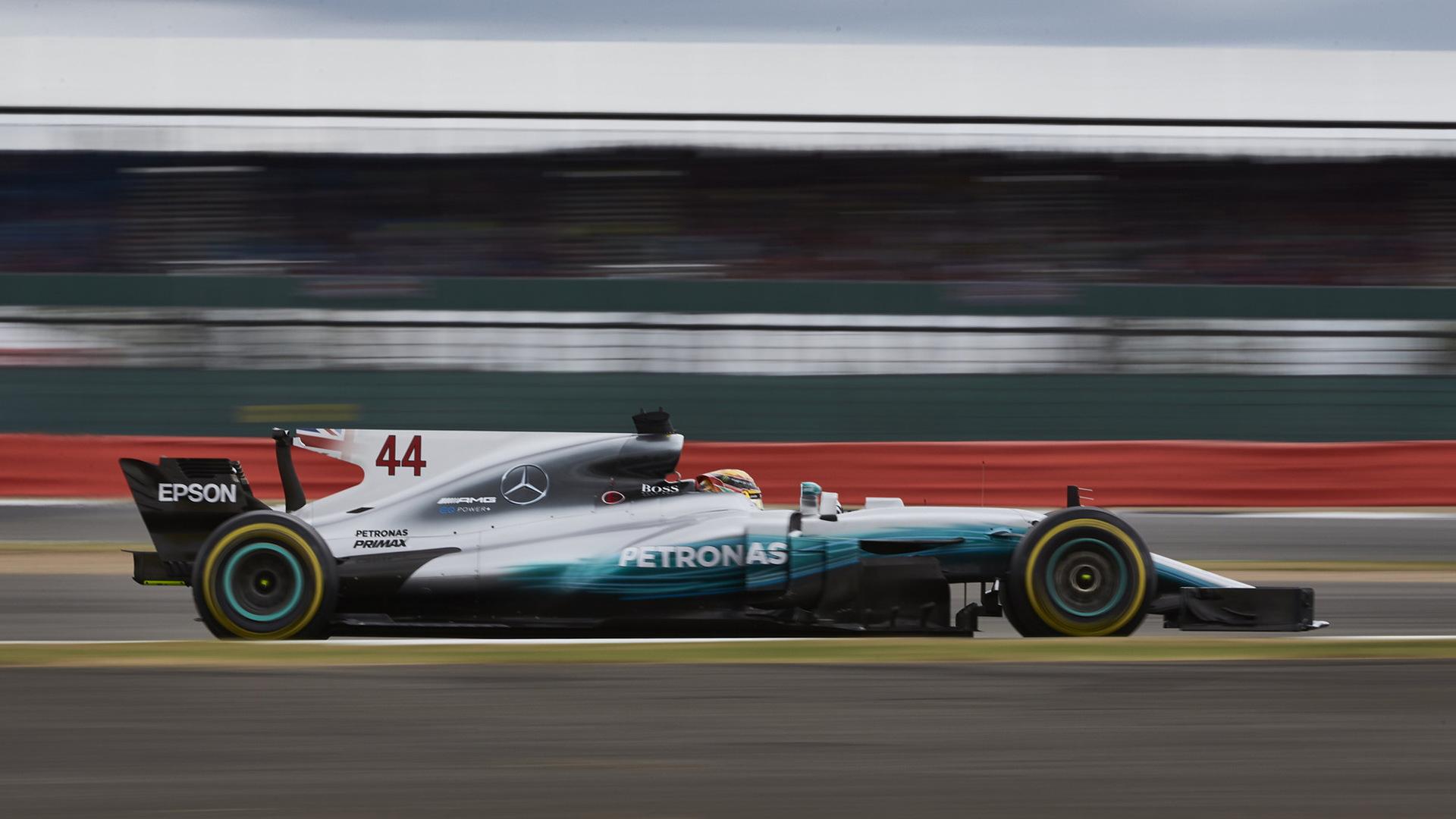 Mercedes AMG's Lewis Hamilton at the 2017 Formula One British Grand Prix
