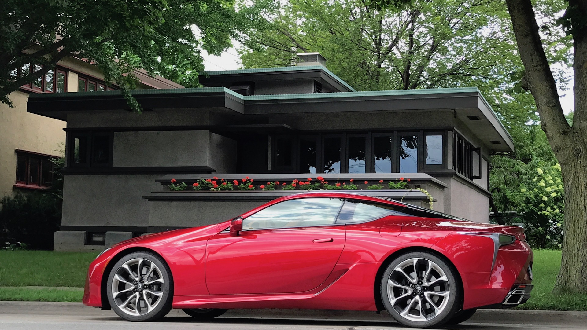2018 Lexus LC 500 in front of a Burnham System Built Home