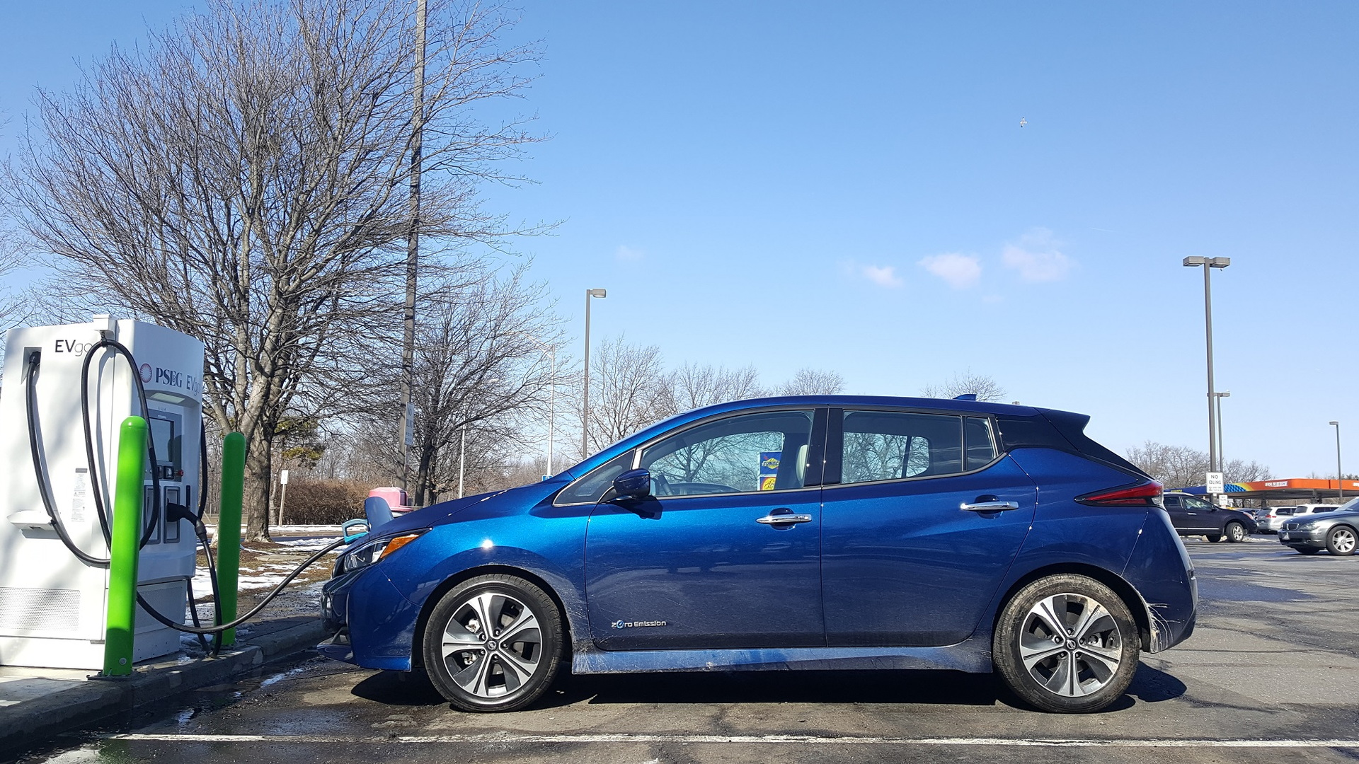 Two 2018 Nissan Leafs with EVgo fast charger at NJ Turnpike Joyce Kilmer travel plaza, Feb 2018
