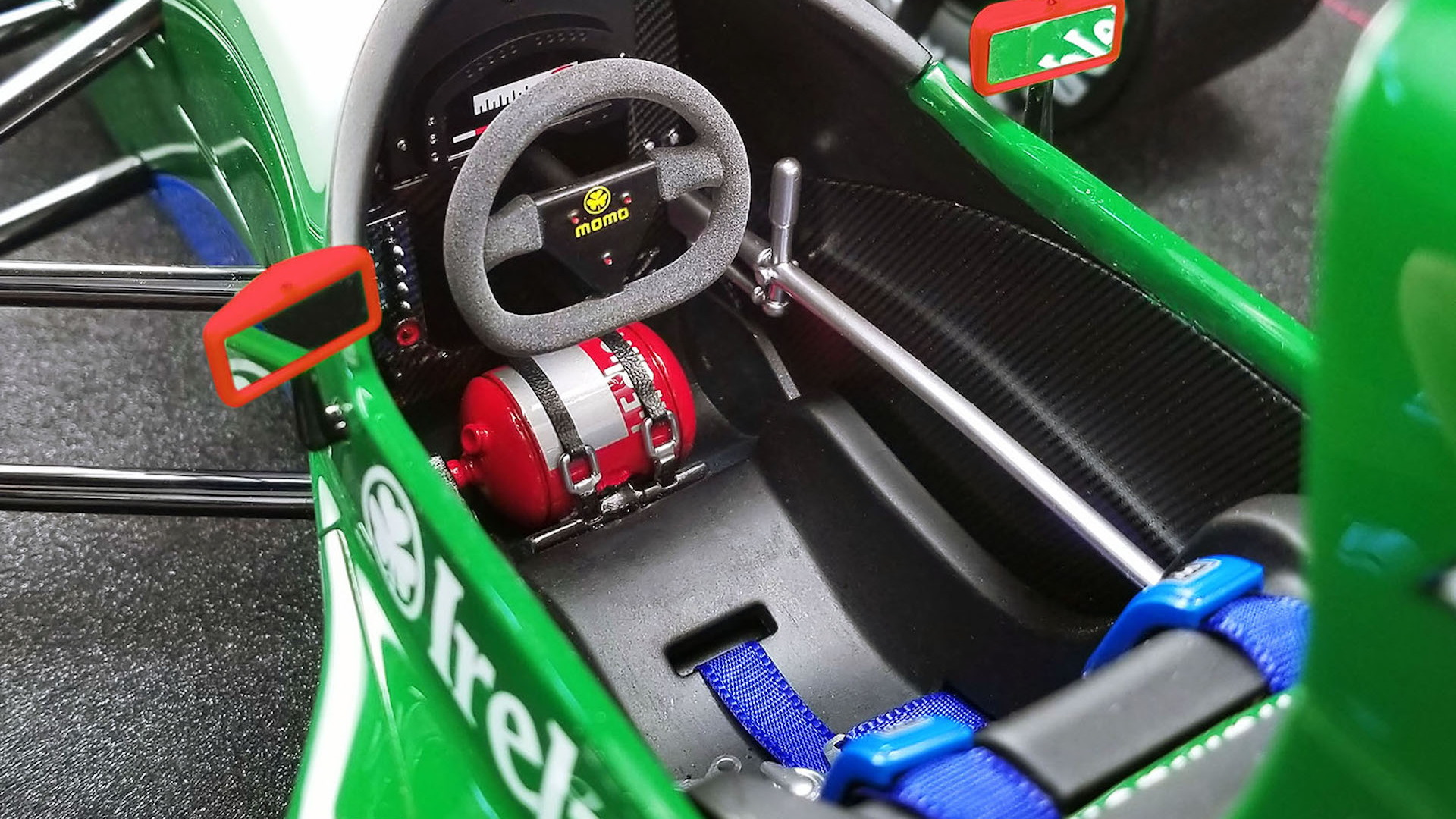 Model of Michael Schumacher's 1991 Jordan F1 car