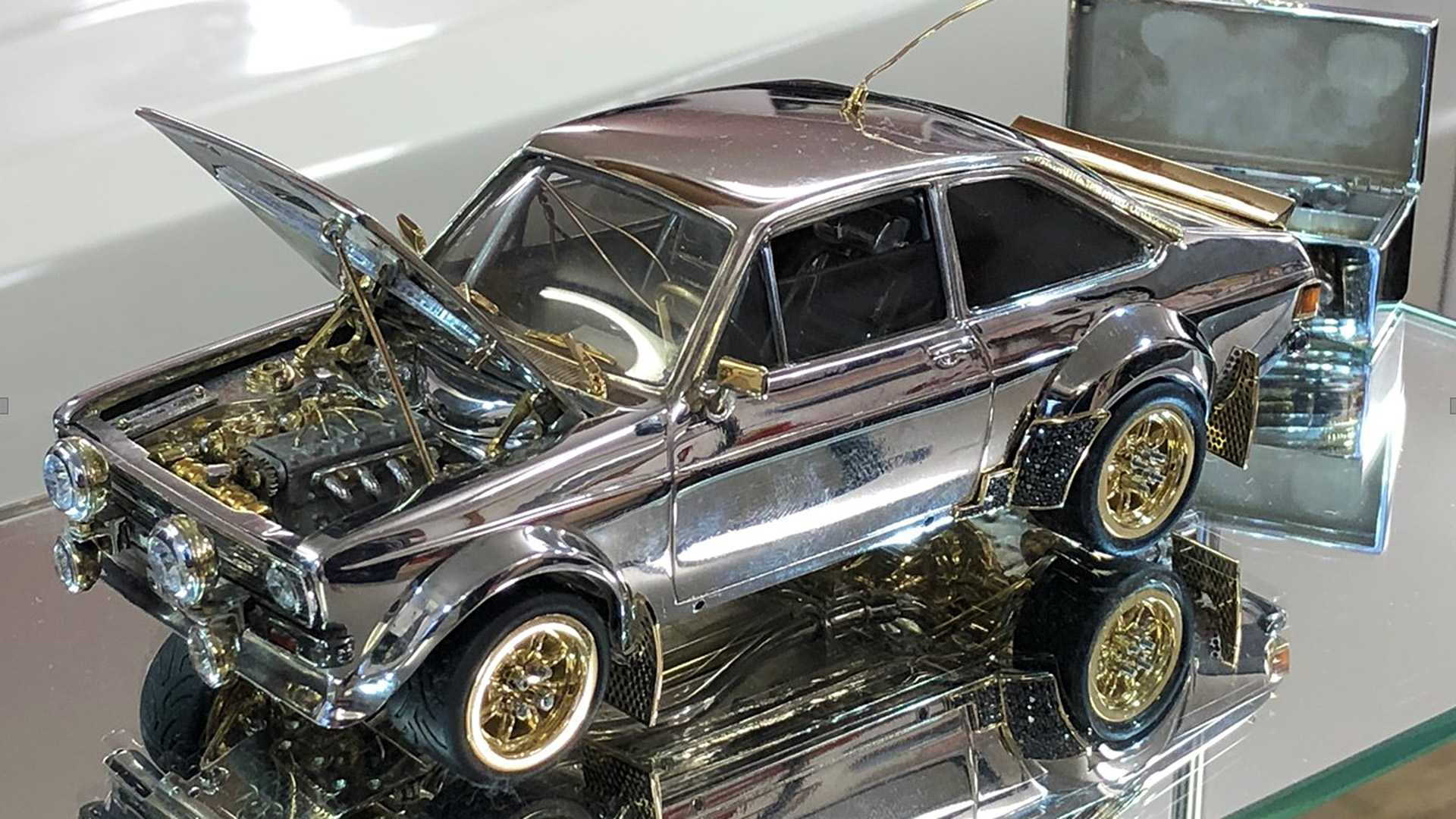 Ford Escort scale model made from precious materials