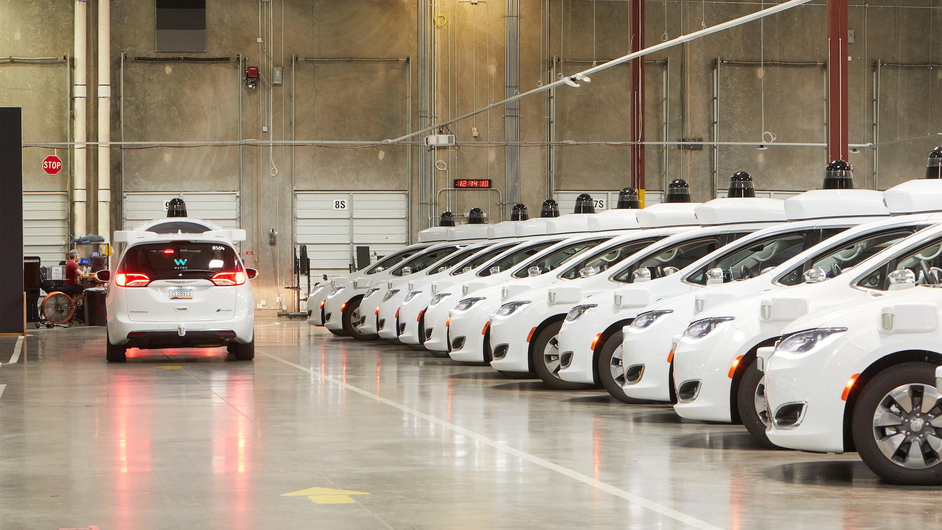 Waymo self-driving car depot in Chandler, Arizona