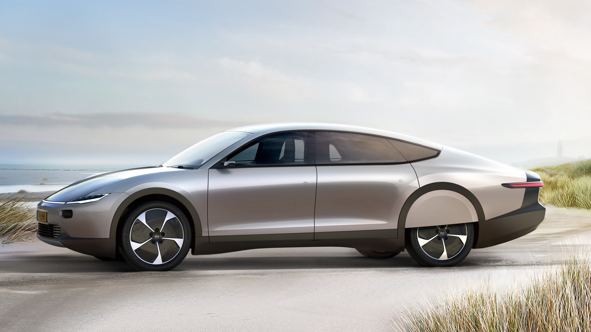This sleek, solar-powered concept auto features 450 miles of range