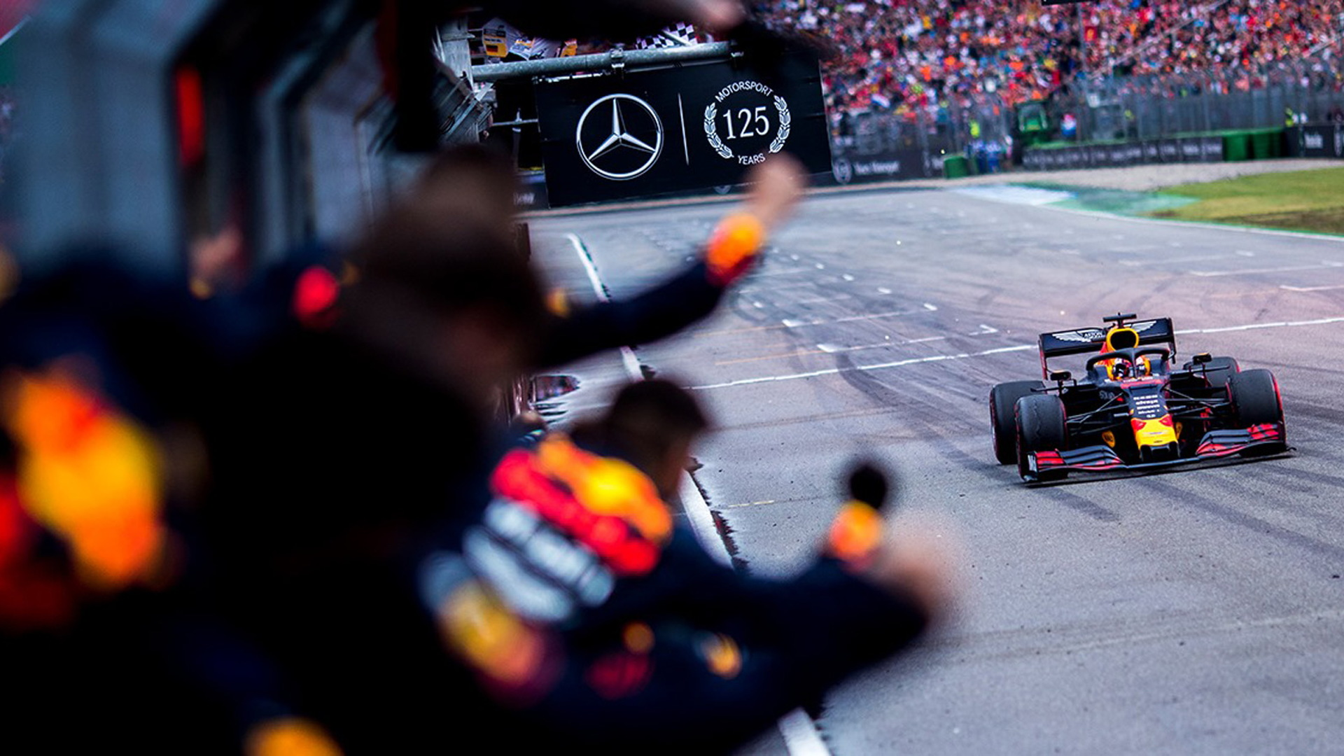 Aston Martin Red Bull Racing's Max Verstappen at the 2019 Formula One German Grand Prix