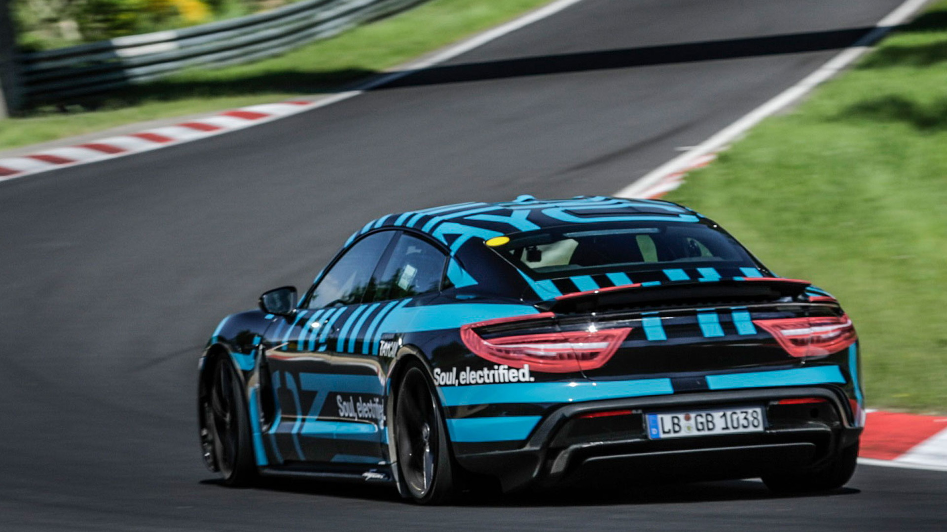 Porsche Taycan at tests at the Nurburgring