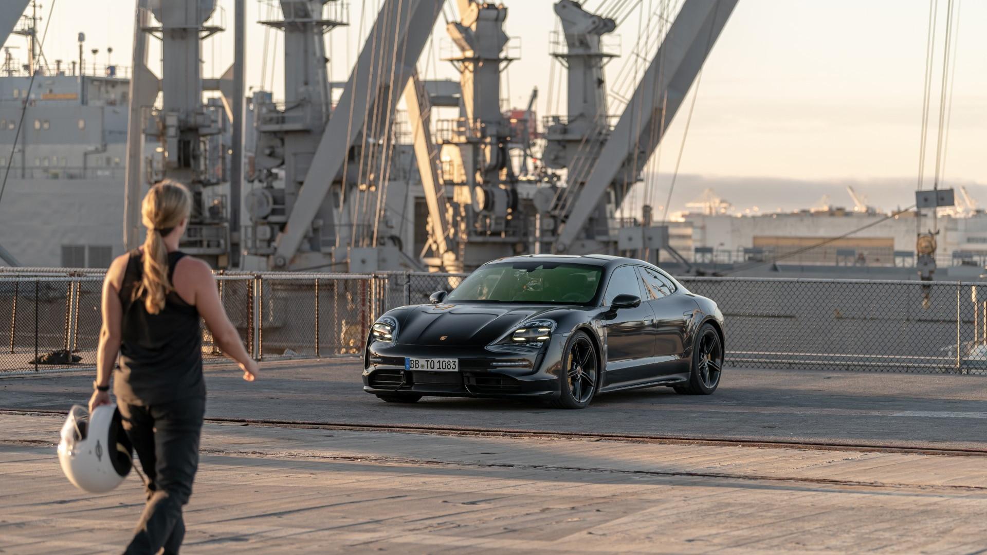 2020 Porsche Taycan  -  0-90-0 mph stunt on USS Hornet aircraft carrier