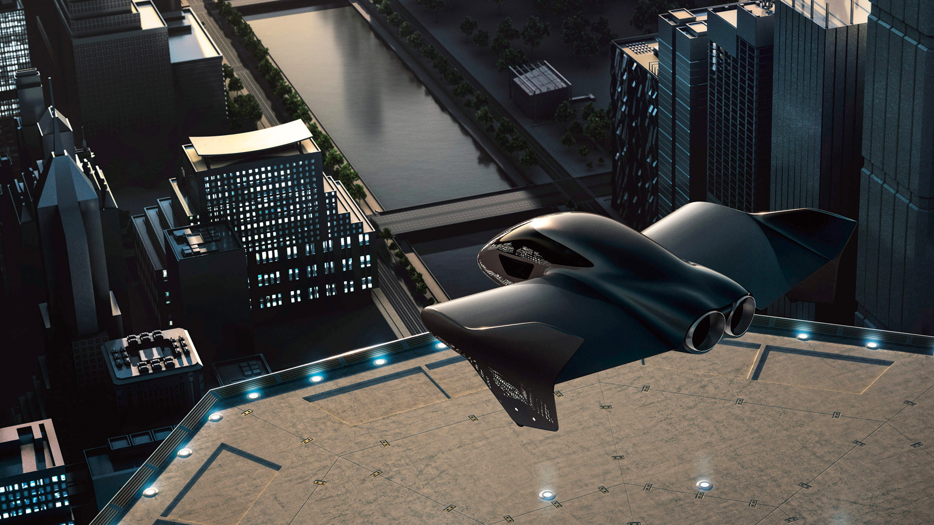 Artist's impression of Porsche and Boeing flying taxi