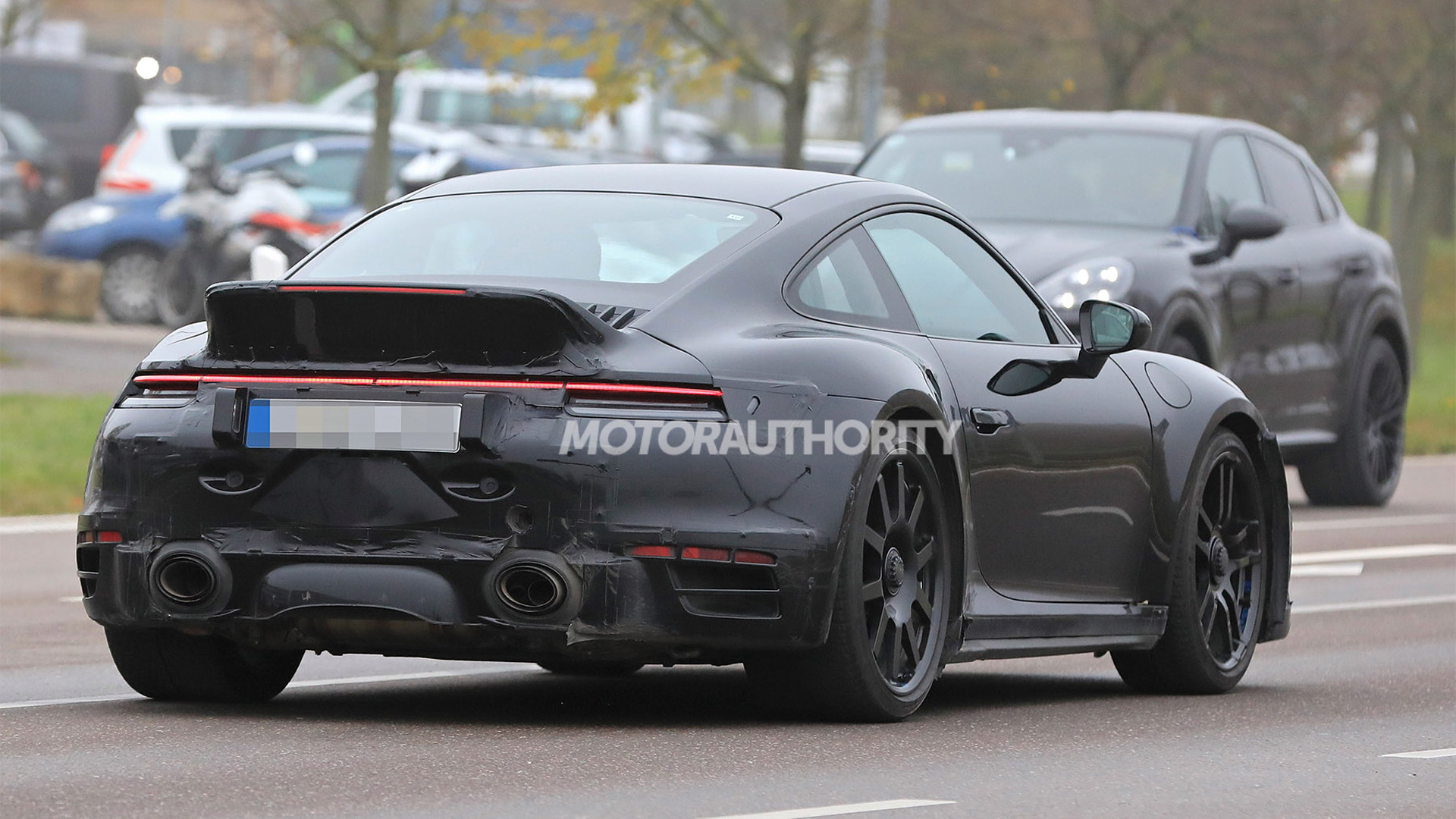 2020 Porsche 911 Turbo with ducktail spoiler spy shots - Photo credit: S. Baldauf/SB-Medien