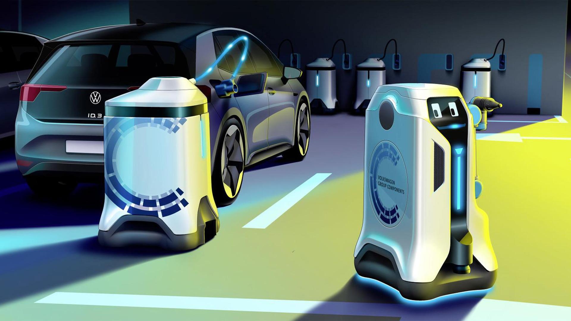 Volkswagen mobile robot charging concept