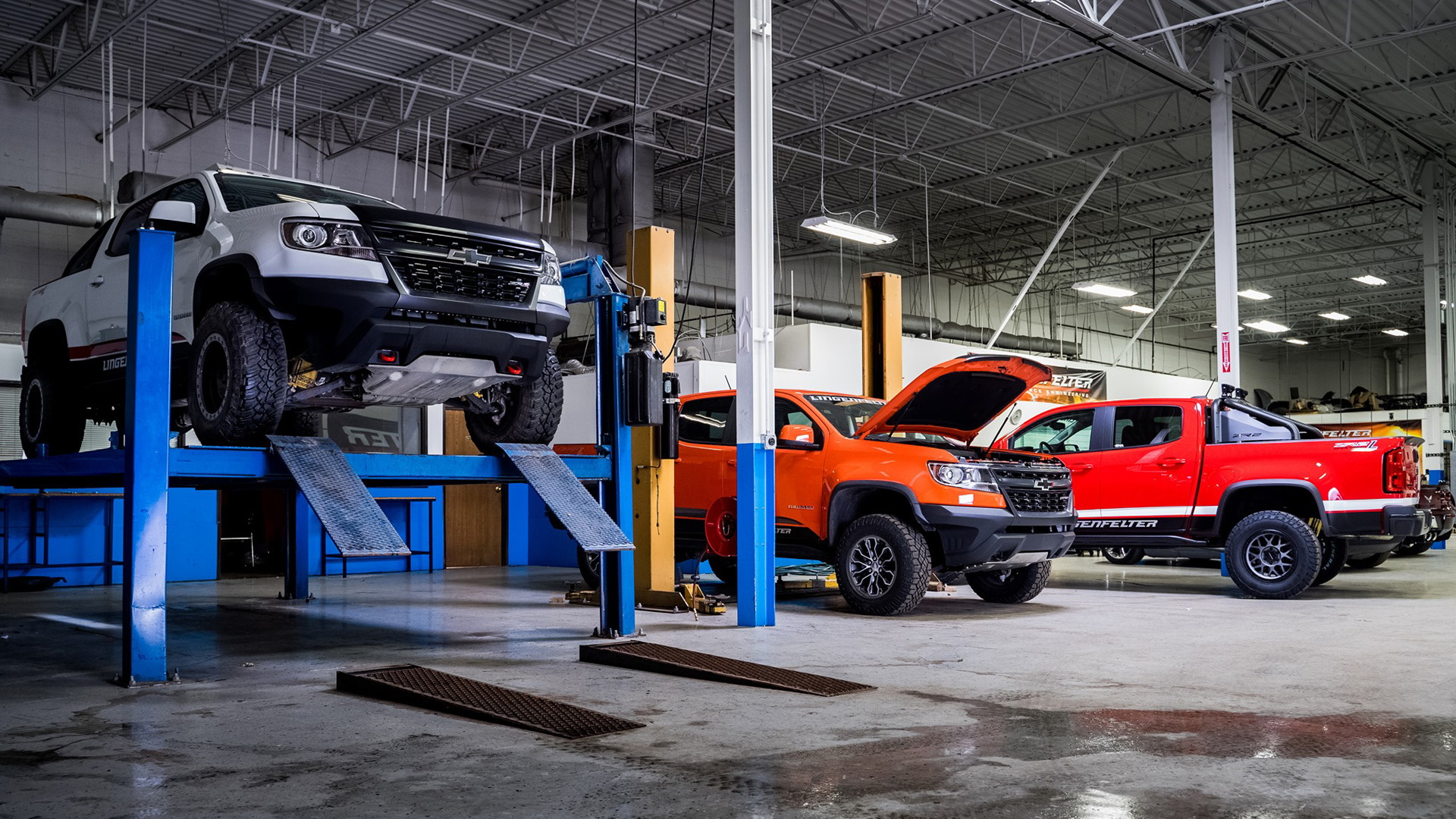 Chevrolet Colorado pickup trucks being worked on at Lingenfelter
